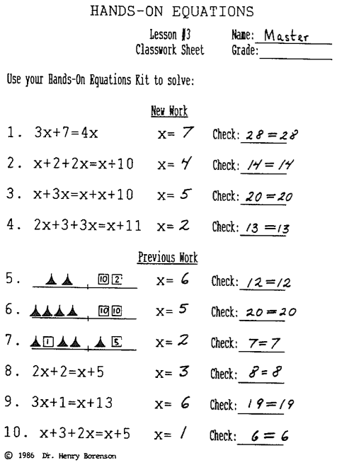 Hands On Equations, Lesson 3 ANSWER KEY - QR Code Hosting Blog